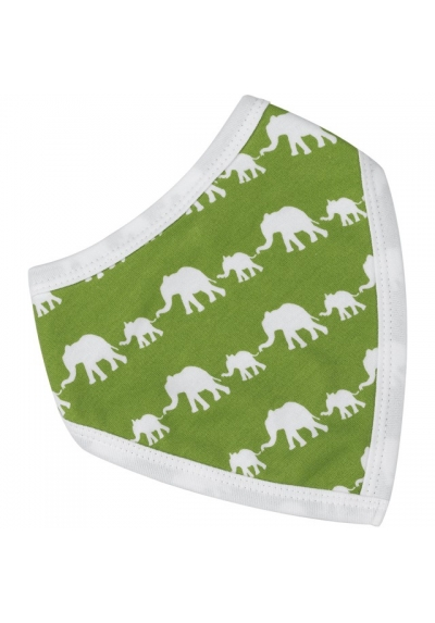 Reversible Elephant Green Bandanna bib