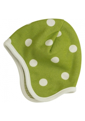 Reversible spotty green bonnet