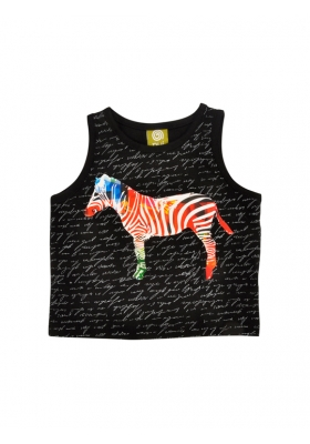 Minh Tank Black Text Zebra