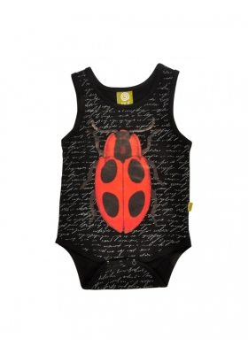 Tank Bodysuit Black Text Ladybug