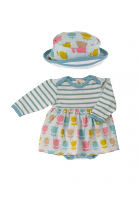 Print Skirt & Sun Hat Set - Tulip 0-6M