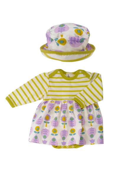 Print Skirt & Sun Hat Set - Leaf 0-5M