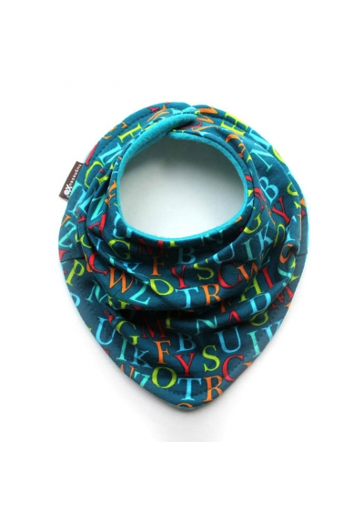 TOSSED ALPHABET ON TEAL ORGANIC SCARF BIB