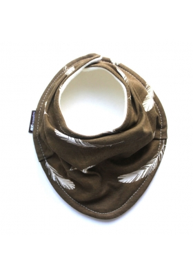 FEATHERS ON BROWN ORGANIC SCARF BIB