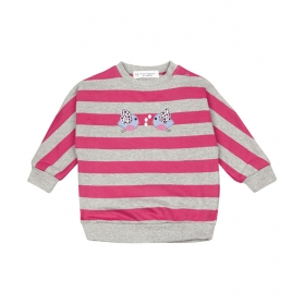 Emma sweat shirt - light grey and cherry stripes