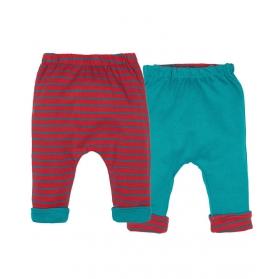 Baker 正反兩面穿褲子 - 水藍及紅橫間